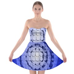 Abstract Background Blue Created With Layers Strapless Bra Top Dress