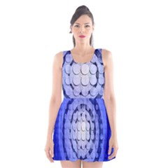 Abstract Background Blue Created With Layers Scoop Neck Skater Dress