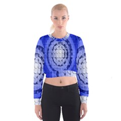 Abstract Background Blue Created With Layers Women s Cropped Sweatshirt