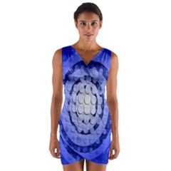 Abstract Background Blue Created With Layers Wrap Front Bodycon Dress