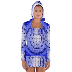 Abstract Background Blue Created With Layers Women s Long Sleeve Hooded T Shirt