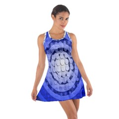 Abstract Background Blue Created With Layers Cotton Racerback Dress