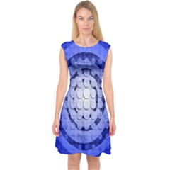 Abstract Background Blue Created With Layers Capsleeve Midi Dress
