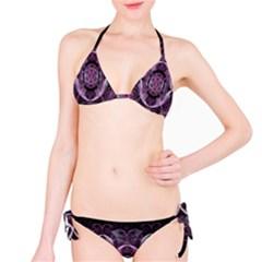 Fractal In Lovely Swirls Of Purple And Blue Bikini Set