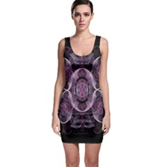 Fractal In Lovely Swirls Of Purple And Blue Sleeveless Bodycon Dress
