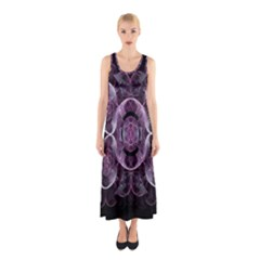 Fractal In Lovely Swirls Of Purple And Blue Sleeveless Maxi Dress