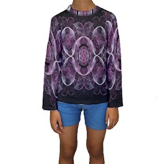 Fractal In Lovely Swirls Of Purple And Blue Kids  Long Sleeve Swimwear