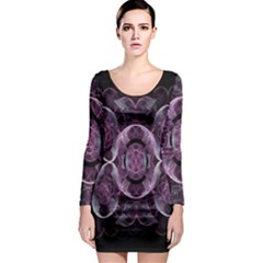 Fractal In Lovely Swirls Of Purple And Blue Long Sleeve Bodycon Dress