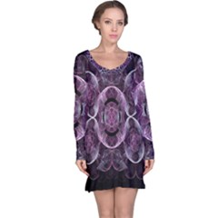 Fractal In Lovely Swirls Of Purple And Blue Long Sleeve Nightdress