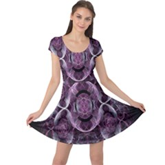 Fractal In Lovely Swirls Of Purple And Blue Cap Sleeve Dresses