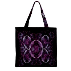 Fractal In Lovely Swirls Of Purple And Blue Zipper Grocery Tote Bag