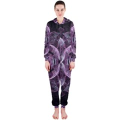 Fractal In Lovely Swirls Of Purple And Blue Hooded Jumpsuit (Ladies)