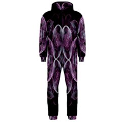 Fractal In Lovely Swirls Of Purple And Blue Hooded Jumpsuit (Men)