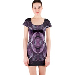 Fractal In Lovely Swirls Of Purple And Blue Short Sleeve Bodycon Dress