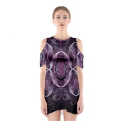 Fractal In Lovely Swirls Of Purple And Blue Shoulder Cutout One Piece