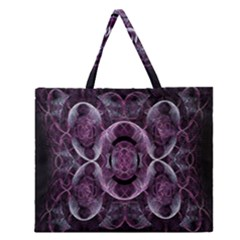 Fractal In Lovely Swirls Of Purple And Blue Zipper Large Tote Bag
