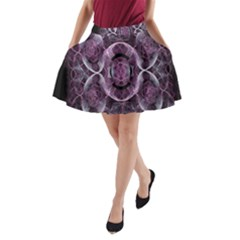 Fractal In Lovely Swirls Of Purple And Blue A-Line Pocket Skirt