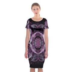 Fractal In Lovely Swirls Of Purple And Blue Classic Short Sleeve Midi Dress