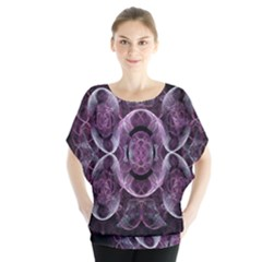 Fractal In Lovely Swirls Of Purple And Blue Blouse