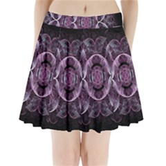 Fractal In Lovely Swirls Of Purple And Blue Pleated Mini Skirt