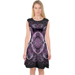 Fractal In Lovely Swirls Of Purple And Blue Capsleeve Midi Dress