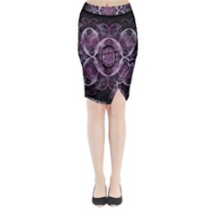 Fractal In Lovely Swirls Of Purple And Blue Midi Wrap Pencil Skirt