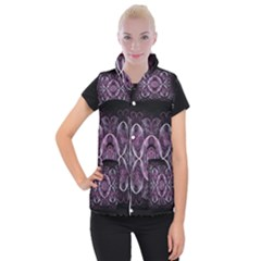 Fractal In Lovely Swirls Of Purple And Blue Women s Button Up Puffer Vest