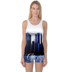Abstract Of Downtown Chicago Effects One Piece Boyleg Swimsuit
