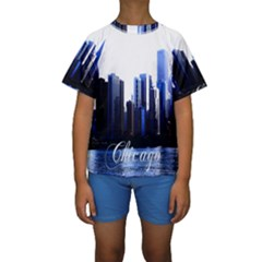 Abstract Of Downtown Chicago Effects Kids  Short Sleeve Swimwear