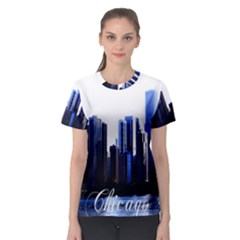 Abstract Of Downtown Chicago Effects Women s Sport Mesh Tee