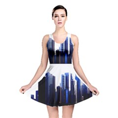 Abstract Of Downtown Chicago Effects Reversible Skater Dress