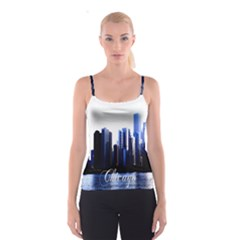 Abstract Of Downtown Chicago Effects Spaghetti Strap Top