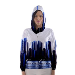 Abstract Of Downtown Chicago Effects Hooded Wind Breaker (women)