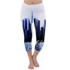 Abstract Of Downtown Chicago Effects Capri Winter Leggings