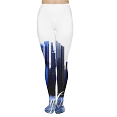 Abstract Of Downtown Chicago Effects Women s Tights
