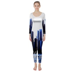 Abstract Of Downtown Chicago Effects Long Sleeve Catsuit