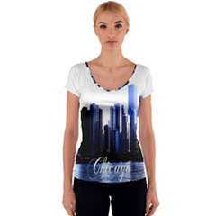Abstract Of Downtown Chicago Effects Women s V-Neck Cap Sleeve Top