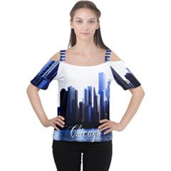 Abstract Of Downtown Chicago Effects Women s Cutout Shoulder Tee