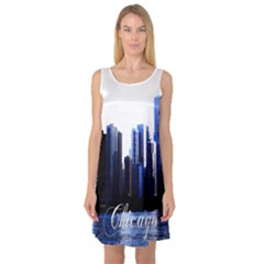 Abstract Of Downtown Chicago Effects Sleeveless Satin Nightdress