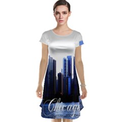 Abstract Of Downtown Chicago Effects Cap Sleeve Nightdress