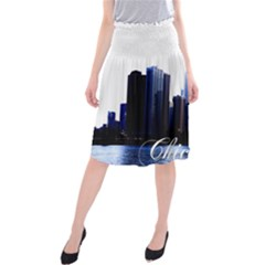 Abstract Of Downtown Chicago Effects Midi Beach Skirt