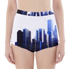 Abstract Of Downtown Chicago Effects High-Waisted Bikini Bottoms