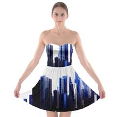 Abstract Of Downtown Chicago Effects Strapless Bra Top Dress
