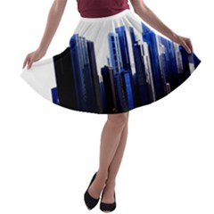Abstract Of Downtown Chicago Effects A Line Skater Skirt