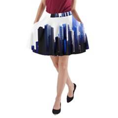 Abstract Of Downtown Chicago Effects A-Line Pocket Skirt