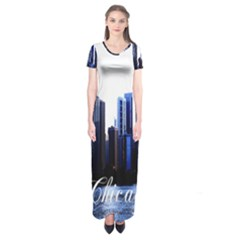Abstract Of Downtown Chicago Effects Short Sleeve Maxi Dress