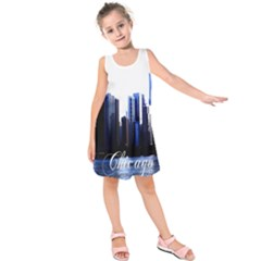 Abstract Of Downtown Chicago Effects Kids  Sleeveless Dress