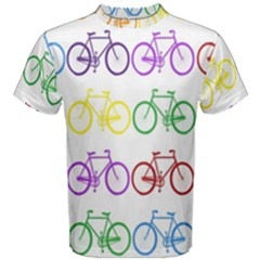Rainbow Colors Bright Colorful Bicycles Wallpaper Background Men s Cotton Tee