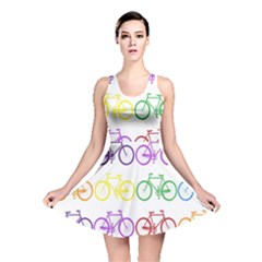 Rainbow Colors Bright Colorful Bicycles Wallpaper Background Reversible Skater Dress