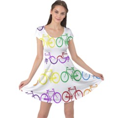 Rainbow Colors Bright Colorful Bicycles Wallpaper Background Cap Sleeve Dresses